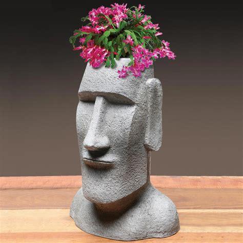 Easter Island Planter by Easter Island Moai Monolith Tiki Garden Statue