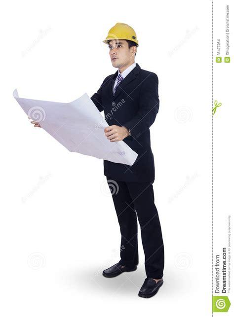 i am the architect architect in person architect holding blueprint stock photo image of korean