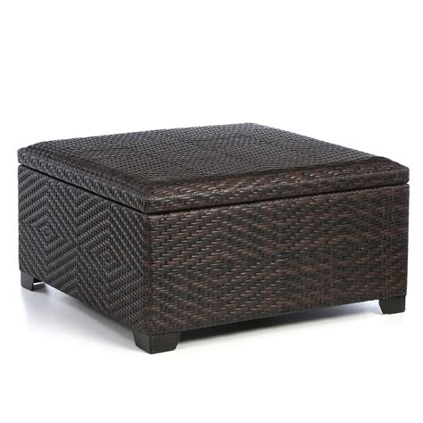 rattan ottoman storage wicker storage ottoman pads home design ideas