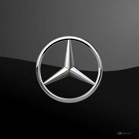 Home Decor Paintings by Mercedes Benz 3d Badge On Black Digital Art By Serge