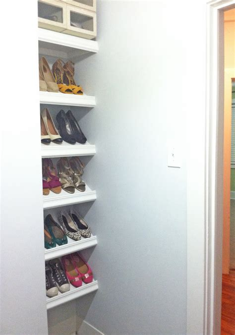 shoe shelves diy white designer shoe shelves on a budget diy projects