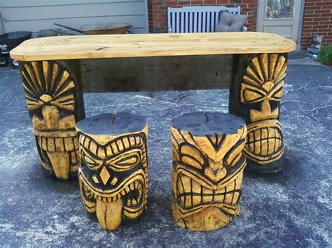 carved tiki bar stools woodworking projects plans