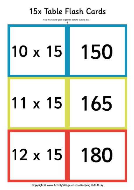printable multiplication flash cards up to 15 15 times tables new calendar template site
