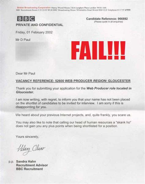 Rejection Letter Cadbury Greatest Employment Rejection Letters Social Talent