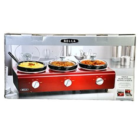 Amazon Com Bella Triple Slow Cooker Buffet And Serve Cooker Buffet