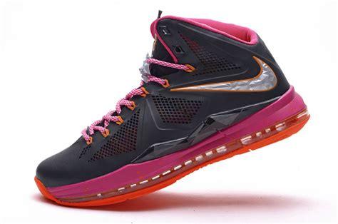 authentic lebron 10 midnight shoes black pink orange