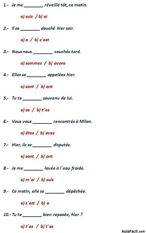 ejercicios de preguntas en frances le pass 233 compos 233 les verbes pronominaux la n 233 gation