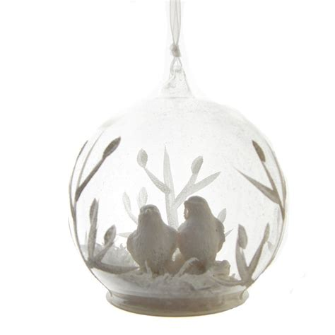 Glass Bird Tree Decorations by Gisela Graham White Birds Glass Dome Tree Decoration