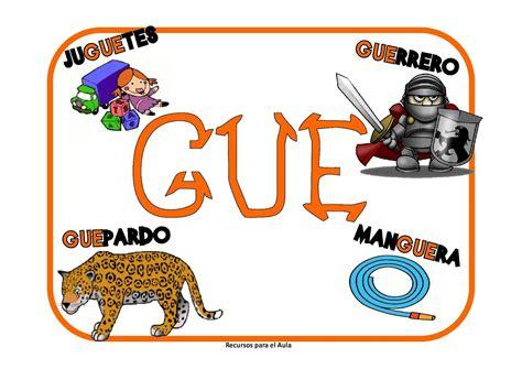 imagenes y palabras con gue y gui learning is fun carteles ga go gu gue gui g 220 e g 220 i