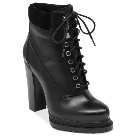 bcbgeneration martins high heel combat booties in black lyst
