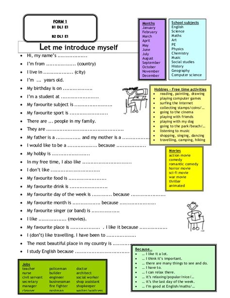 Let Me Introduce Myself Essay by Form 1 Suggested Pbs Materials