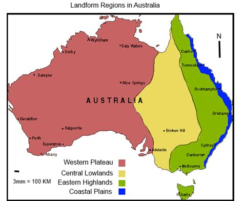 regions of australia map landforms the australian environment website