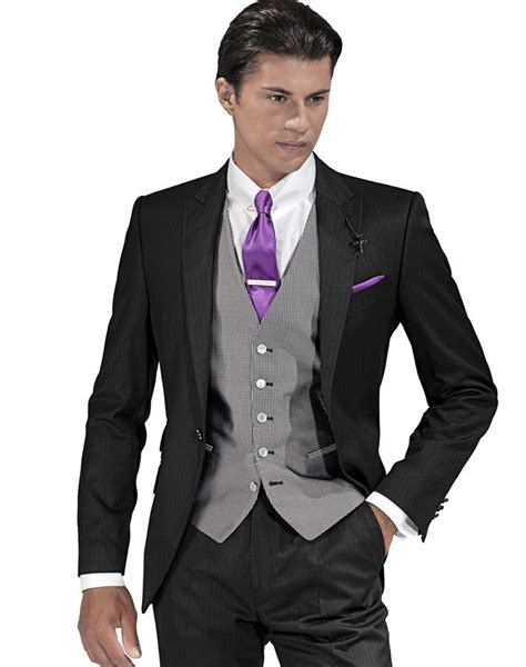 pattern shirt with dark gray suit black suit grey vest purple tie wedding suits