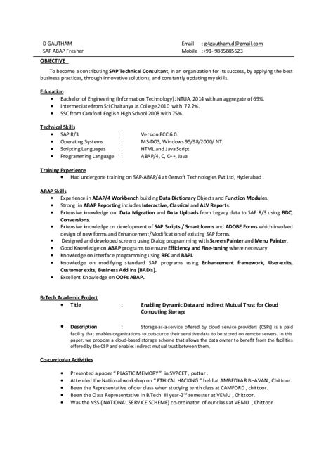 Abap Fresher Resume Format by Gautham Sap Abap Fresher Resume