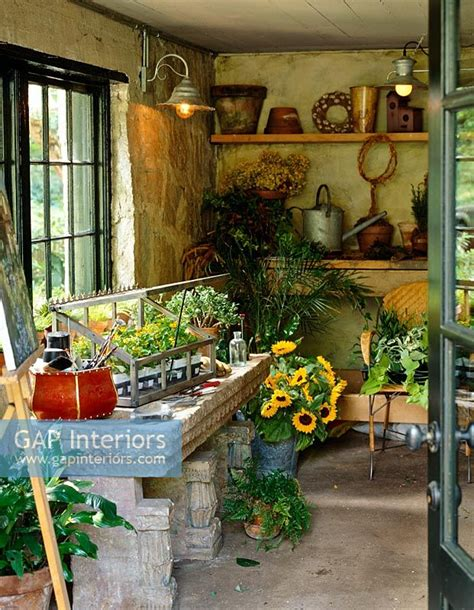 potting shed interior with rustic country design idea gap interiors classic country potting shed image no