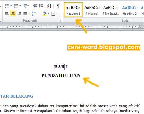 cara membuat daftar isi otomatis dengan heading cara membuat daftar isi di word otomatis cara word