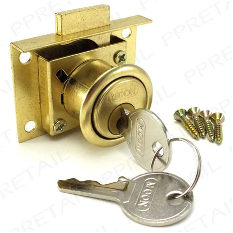 quality brass drawer lock kit 2 keys cabinet cupboard