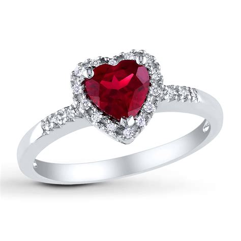 lab created ruby ring 1 10 ct tw diamonds sterling