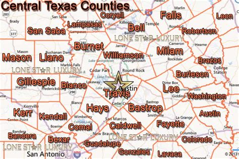 map of central texas counties texas farm and ranch properties lone luxury