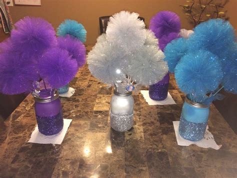 tulle pom pom centerpieces disney frozen centerpiece glitter jars with tulle
