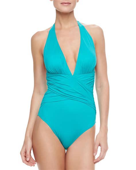 Halter One Swim Suit lazul zulu halter onepiece swimsuit emerald green in blue