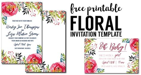 st s day invitation card templates free floral invitation template free printable paper trail