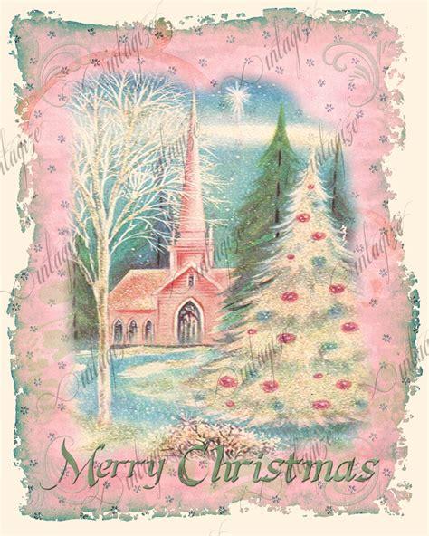 printable christmas cards vintage printable shabby chic christmas vintage church pink art print
