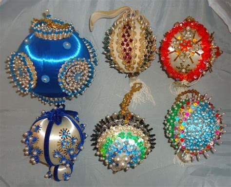 vtg lot handmade glass beaded sequin styrofoam satin