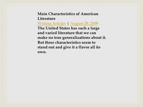 The American Literature Important Of American Literature