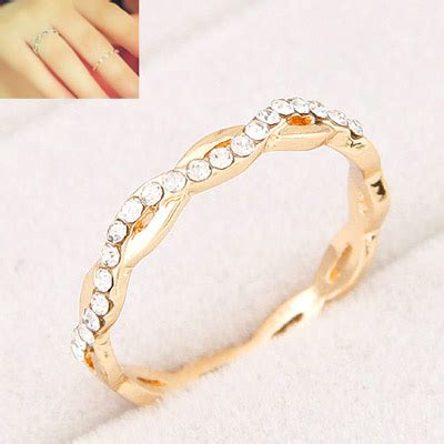 Cincin Korean Layer Decorated Gold Ring faddish gold color decorated 8 shape design alloy korean rings asujewelry