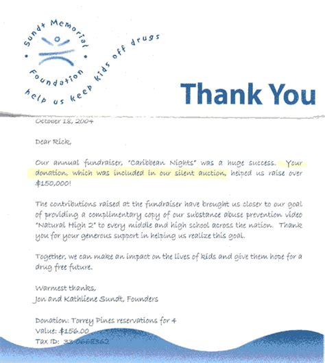 thank you letter for gift in memory of san diego golf san diego golf charity golf tournaments
