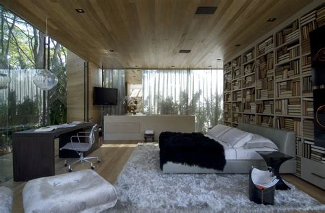 glass ceiling bedroom bedroom with glass walls and wood ceiling interior