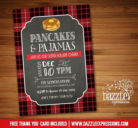 Printable Plaid Pancake And Pajamas Holiday Party Invitation Christmas Breakfast Party Pancakes And Pajamas Invitation Template