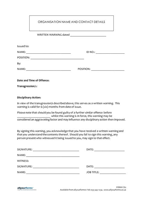 Sle Of Written Warning Letter To Employee Letters Free Sle Letters Verbal Written Warning Template