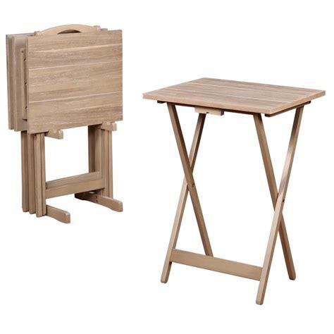 Folding Tray Table Set Linon Acacia 5 Folding Tray Table Set In Gray Wash Dealtrend