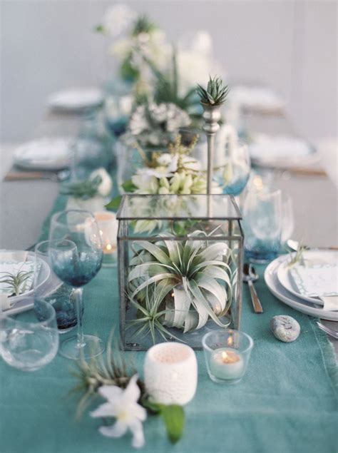 dusty blue wedding table decor ideas deer pearl flowers