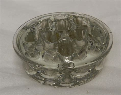 Shallow Vase by Vintage Shallow Clear Glass Flower Frog Vase Ebay