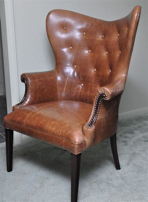 vintage wingback chair vintage leather butterfly wingback chair by ccdeuxvie on etsy