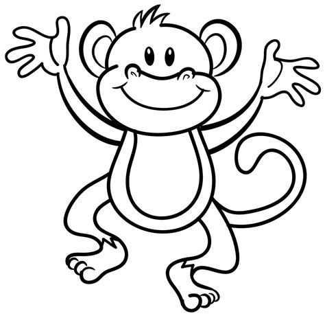 printable coloring pages monkeys colouring monkey clipart best