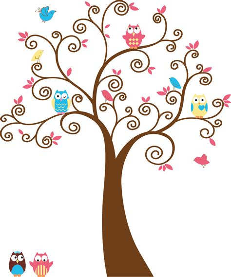 Cute Trees | cute kids tree with 5 owls and birds vinyl wall by