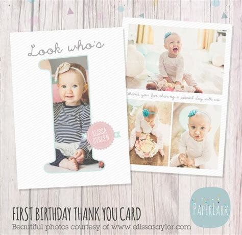 1st Birthday Thank You Card Free Template by Cake Smash Paper Lark Designs