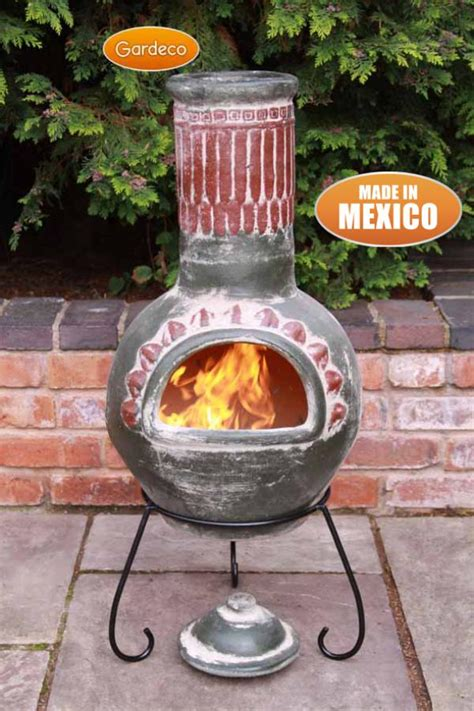 chiminea stand gardeco large plumas mexican chiminea green patio