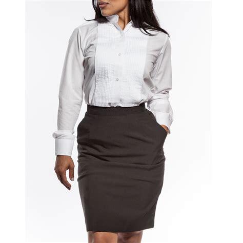 womens tuxedo shirt white pleated wing tip collar