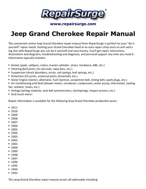 online service manuals 2011 jeep grand cherokee spare parts catalogs jeep grand cherokee repair manual 1993 2011