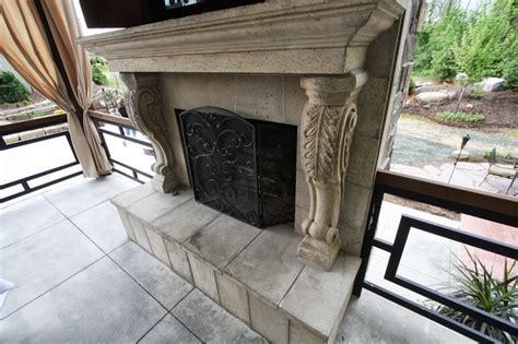 Cast Outdoor Fireplace Cast Outdoor Fireplace Transitional Patio