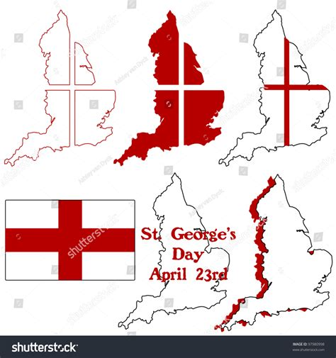 S Day Uk St George S Day Icons Stock Vector 97980998