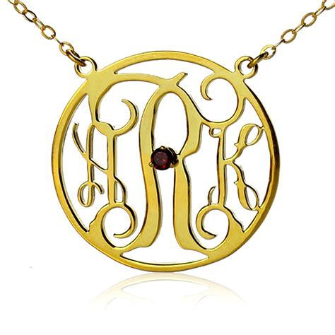 monogram name necklace 18k gold plated circle initial monogram necklace with birthstone