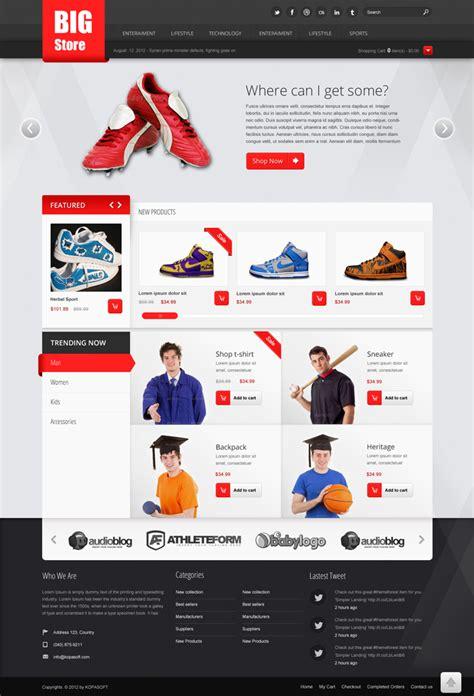 free websites big store free ecommerce psd website template kopa theme