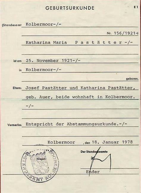 german birth certificate template official documents maternal