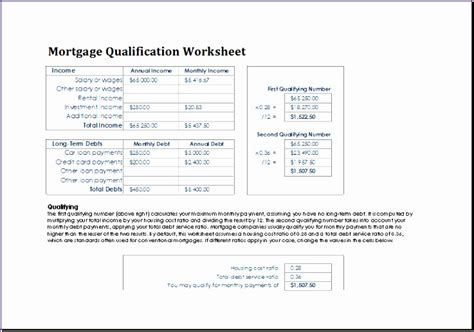 Mortgage Qualification Worksheet Template Excel 8 Mortgage Qualification Worksheet Exceltemplates Exceltemplates